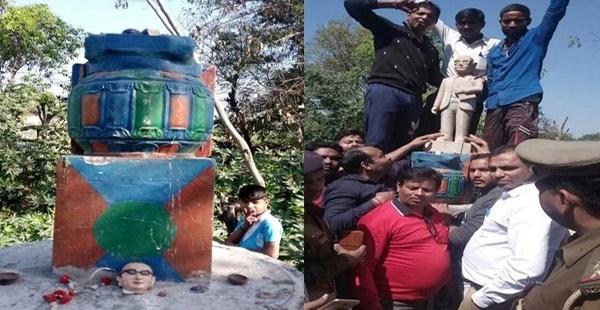 त्रिपुर में लेनिन ,केरल के वेल्लूर में 'पेरियार' अब उत्तर प्रदेश के मेरठ में तोड़ी गई बाबा भीमराव की मूर्ति